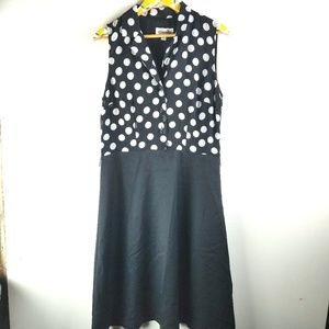 Studio 1 Black White Dress Sz 14 XL Polka Dots